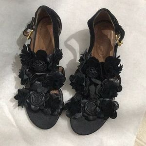 """Corso Coma All Leather Black Sandals 1.5"""" Heel 7"""